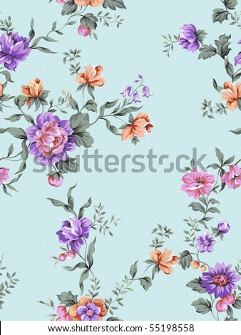floral background , element for blue design pattern - stock photo