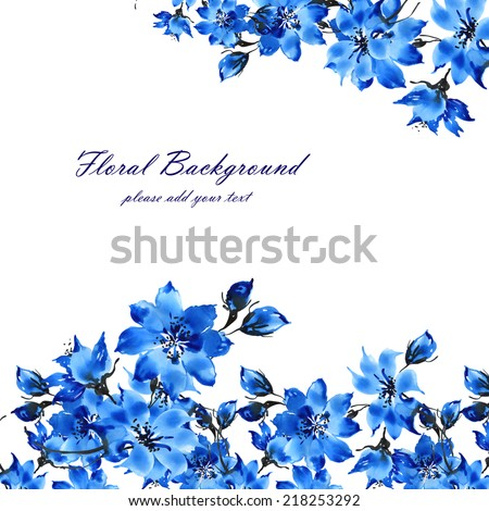 Floral background flowers - stock photo