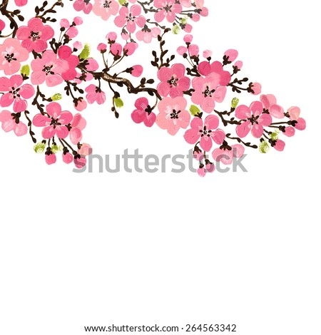 Floral background of flowering branches. illustration painting handmade blossoming branch. Colorful texture on handmade paper. Original background for design and decor.