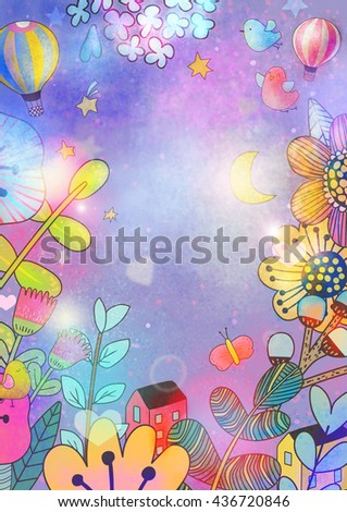Floral background. Raster illustration. Card or poster template. Hi-res file. Hand painted.