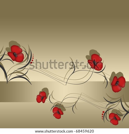 Floral background with red flowers in golden tone