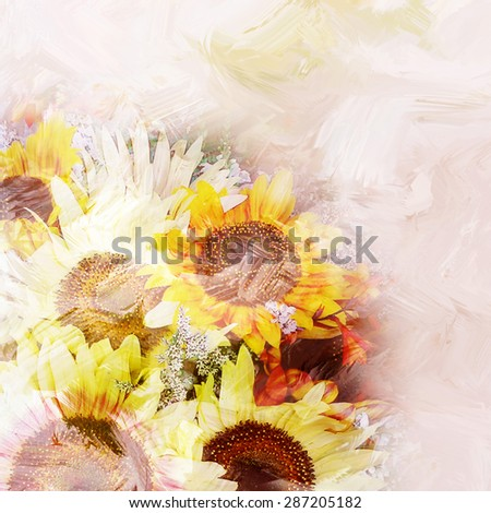 Floral background with stylized bouquet of sunflowers on grunge stained and striped hazy background in pastel colors