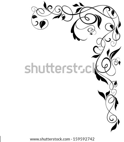 Floral black border. Raster copy - stock photo