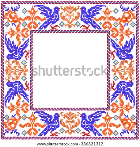 Floral blue birds square mosaic photo frame. Isolated abstract collage from summer flowers  - stock photo