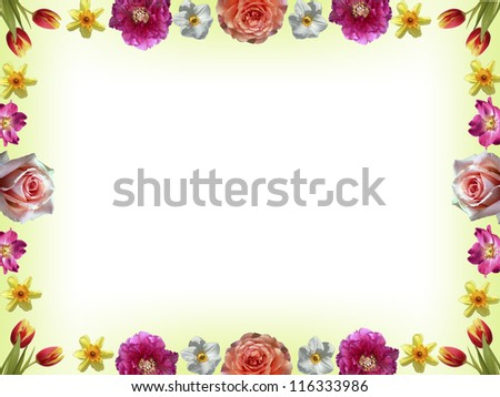 floral border with pastel colored spring flowers, copy-space inside - stock photo