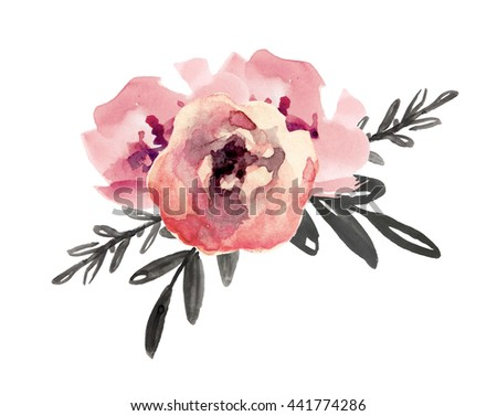 Floral bouquet with pink flowers. Watercolor hand drawn