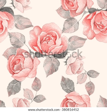 Floral branch. Watercolor seamless pattern 8 - stock photo