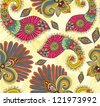 Floral bright seamless pattern with doodle flowers and paisley, illustration - stock photo