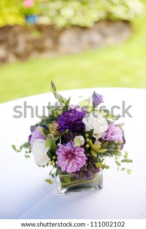 Floral Centerpiece at Wedding Reception - stock photo