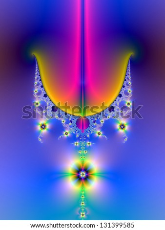 Floral Chandelier / Digital abstract fractal image with a psychedelic floral chandelier design in blue, pink, orange and green.