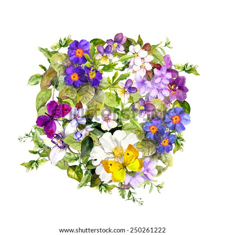 Floral circle with wild herb, flowers and butterflies. Watercolor background