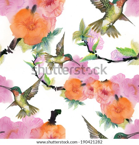 Floral colorful mallow flowers with colibri pattern  - stock photo