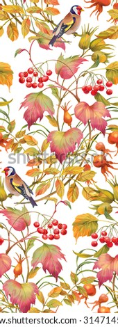 Floral composition of autumn branches with berries , leaves and birds. Seamless background pattern. Version 1 - stock photo