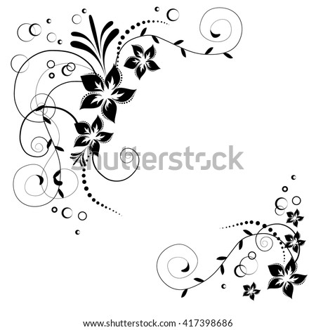 Floral corner ornamental pattern with flowers. Black flowers on white background. Flowery invitation card. Background with floral elements. Raster copy. - stock photo