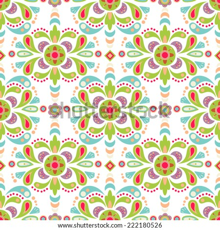 Floral damask seamless pattern background, mexican colorful ornament - stock photo
