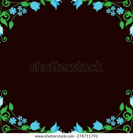 Floral dark brown background. Raster copy. Can use for birthday card, wedding invitations. - stock photo
