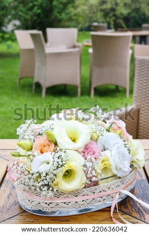 Floral decoration with carnation and eustoma flowers - stock photo