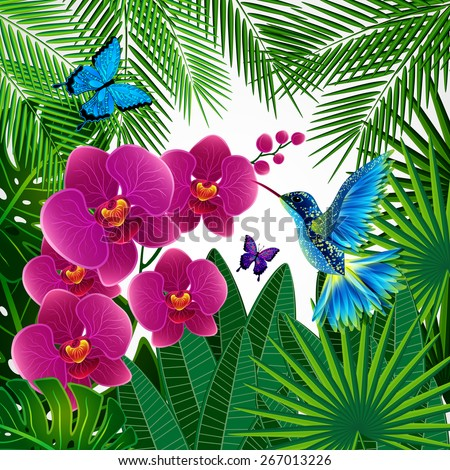 Floral design background. Orchid flowers with bird, butterflies. - stock photo