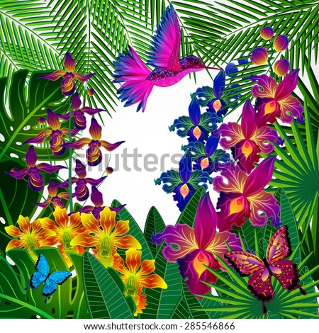 Floral design background. Tropical orchid flowers, birds and butterflies.  - stock photo