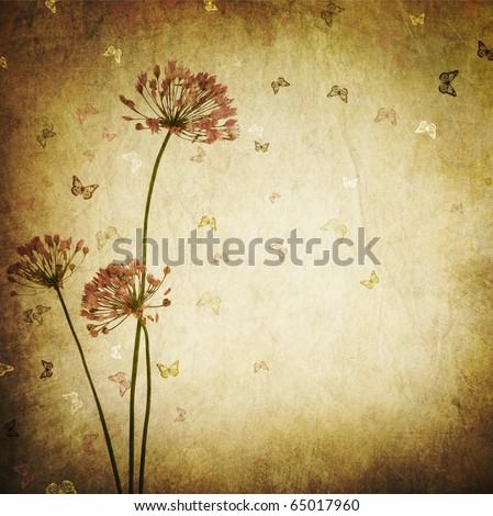 Floral Design border.Vintage styled - stock photo