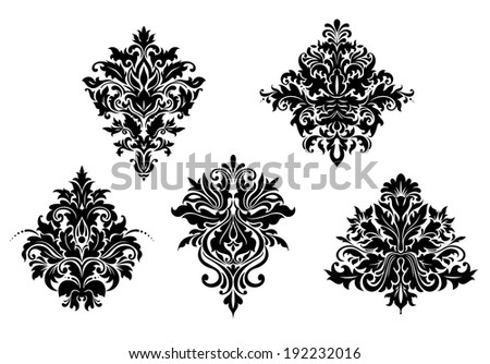 Floral design elements in retro damask style isolated on white background. Vector version also available in gallery - stock photo