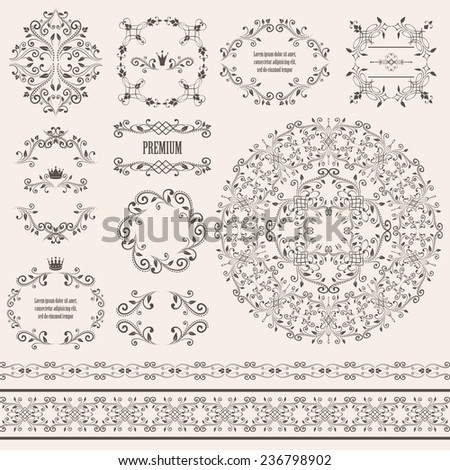 Floral design elements set, vintage frame, borders and round pattern in brown color. Page decoration. Raster copy on beige background. Can use for birthday card, wedding invitations  - stock photo