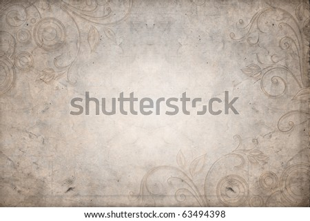 Floral design, grungy old and dirty brown parchment background - stock photo