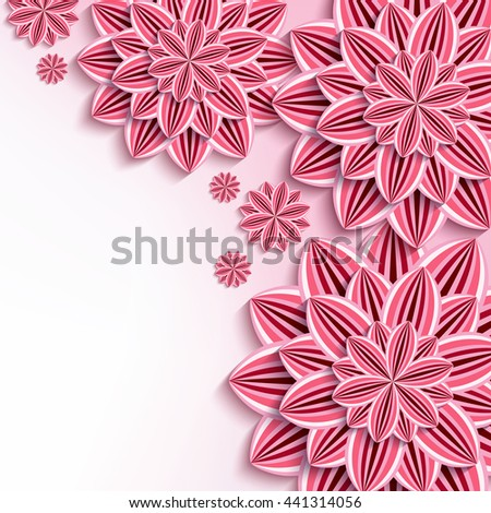 Floral elegant background with pink 3d flowers dahlia cutting paper. Beautiful stylish background. Trendy greeting or invitation card for wedding, birthday. Raster illustration - stock photo