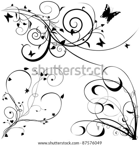 Floral Elements - stock photo