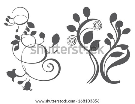 Floral elements in various styles for ornate and decoration - stock photo