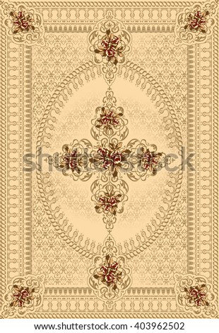 floral  ethnic rug carpet - stock photo
