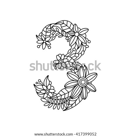 Floral Font Number Coloring Book For Adults Raster Illustration