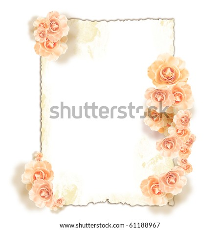 Floral frame for message or photo - stock photo