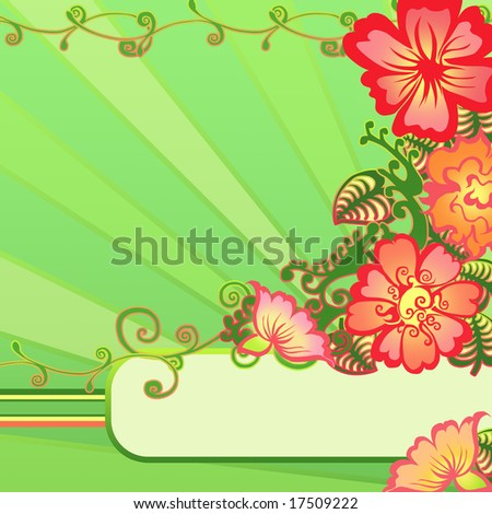 Floral frame in reds and greens - stock photo