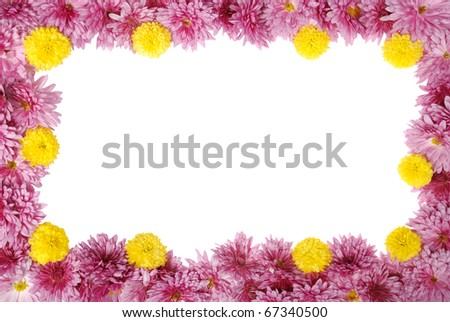 floral frame on white background - stock photo