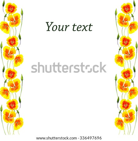 floral frame with gold poppy in watercolor style