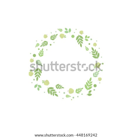 Floral frame with leaves and apples, template for design