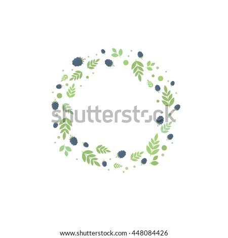 Floral frame with leaves and blackberries, template for design