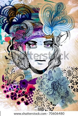 floral girl illustration - stock photo