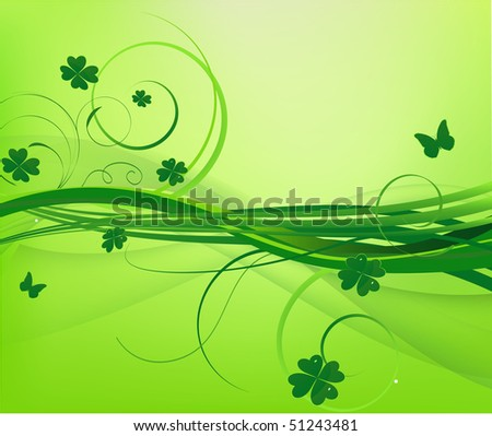 Floral green background with clover. Vector version available - stock photo