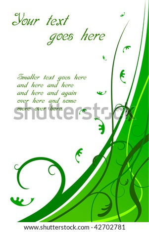 Floral green card with text space. Also available in vector.