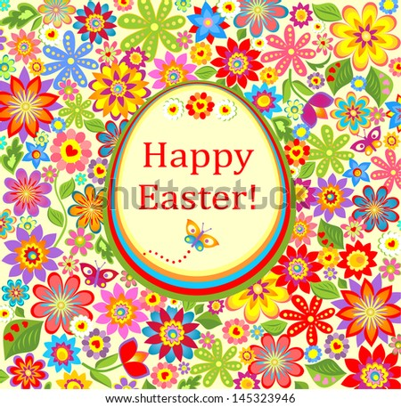 Floral greeting bright card with easter egg. Raster copy of vector image - stock photo
