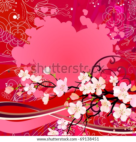 Floral greeting card. Raster version. Vector version is in my gallery.