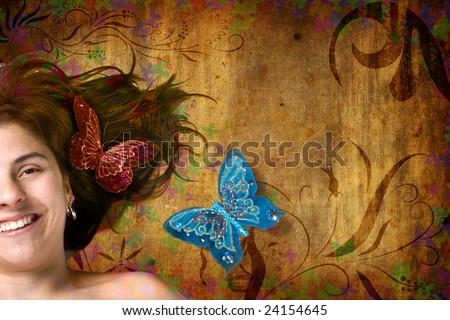 Floral grunge background with beautiful young woman and butterflies - stock photo