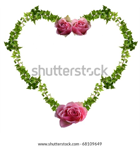 floral heart isolated on the white, background for your text - stock photo