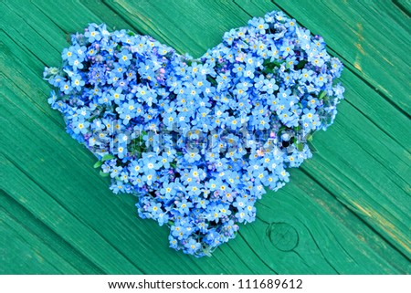Floral Heart made ??from forget-me-not - stock photo