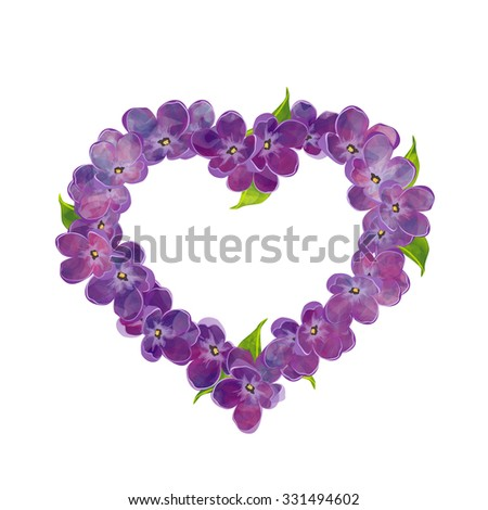 Floral heart with lilac flowers. Elegant decoration. Useful for valentine day card, invitation, congratulation, greeting card. Watercolor imitation. Rasterized version - stock photo