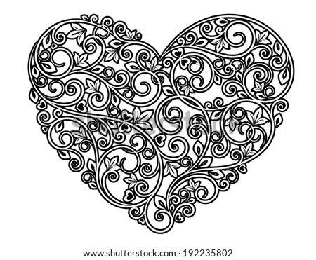 Floral heart with ornamental elements isolated on white background. Vector version also available in gallery - stock photo