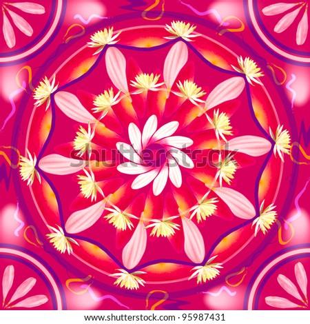 Floral mandala drawing sacred circle in shades of pink - stock photo