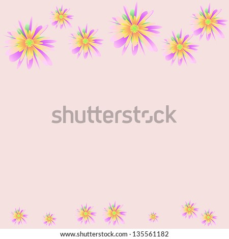 Floral ornament with pastel flowers - stock photo